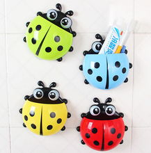 Lovely cartoon sorption wall ladybird toothbrush holder creative toothpaste bathroom storage box tools ss219