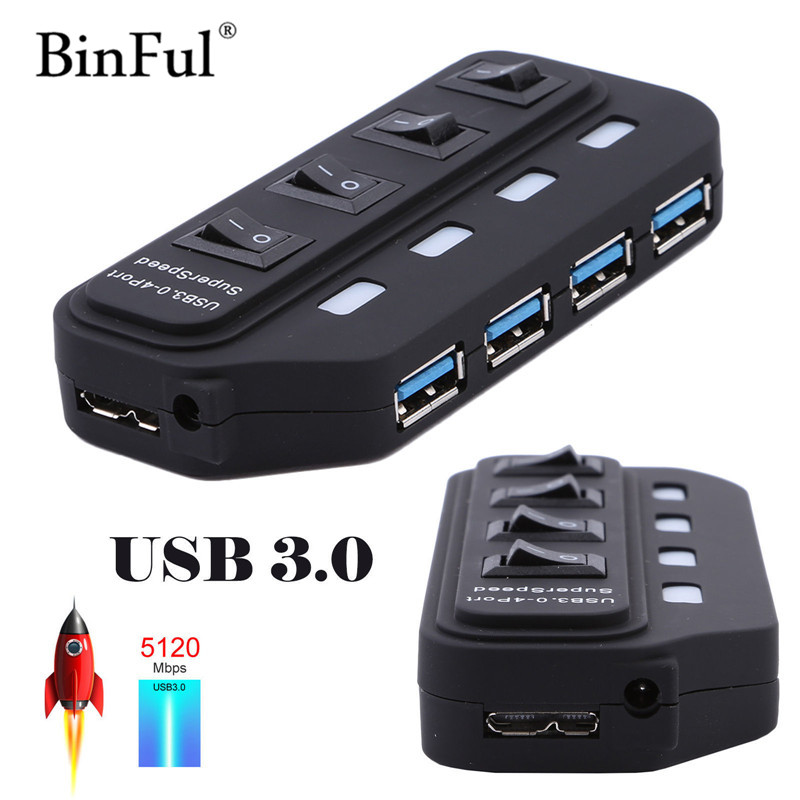 BinFul USB 3 HUB 3.0 4 / 7 Ports with Power Charging and Switch Multiple USB Splitter Porta Panel USB3.0 USB3 USB-HUB usb 3 0 10 ports hub usb hub with 12v4a us eu uk au power adapter black plug and play led indicator on off switch usb hub combo