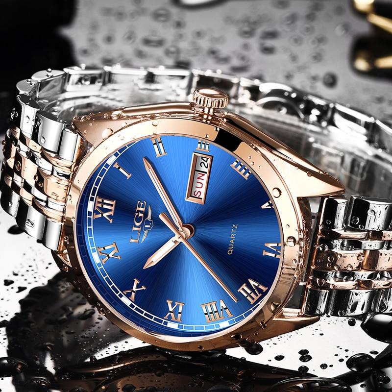 Relogio Masculino 2019 New LIGE Mens Watches Top Brand Luxury Date Sport waterproof Quartz Watch Man Fashion Business Clock in Quartz Watches from Watches