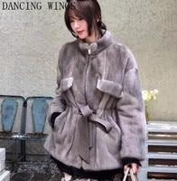 Autumn Winter Full Pelt Real Mink Fur Coat Woman Stand Collar Fashion Warm Natural Mink Fur Jacket Casacos Femininos