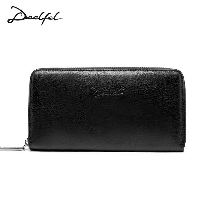 Deelfel молнии Для мужчин клатч из искусственной кожи Для мужчин кожаный бумажник держатель для карт Портмоне Для мужчин длинные молнии кожаный бумажник сцепления валет