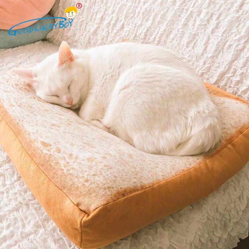 40cm Simulation Toast Bread Slices Pillow Cat Plush Toy Stuffed Funny Creative Cartoon Sleeping Cotton Cushion Toys For Children