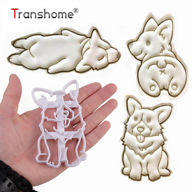 Transhome Cookie Cutter 3 Pcs/Set Cartoon Pet Dog Shape Biscuit Mold Diy Kitchen Cookie Tools Gifts For Dog Lover Baking Tools