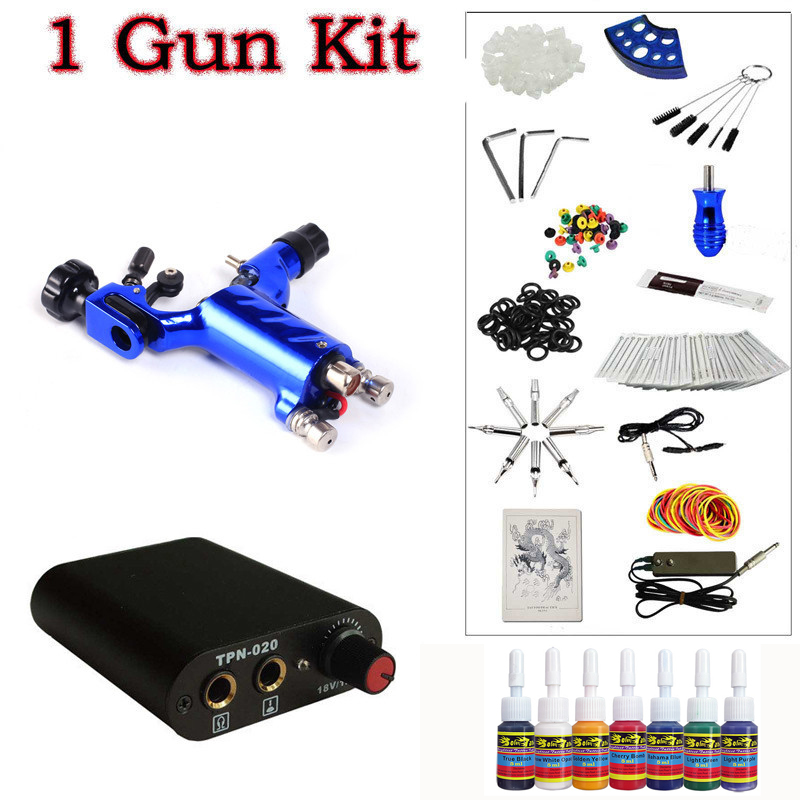 ФОТО  Beginner 1 Dark blue Dragonfly  Rotary Tattoo Machine Gun Kit Power Supply Foot Pedal Needles Grip Tip Ink free shipping