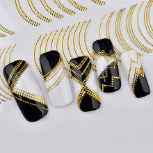 Gold Rivert Metal Adhesive Nail Stickers Decals Zig Zag 3D Retro Studs Styling Art Decorations