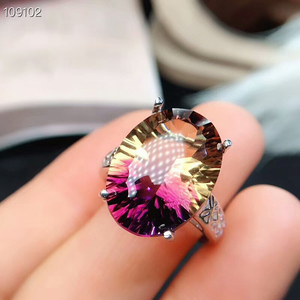 Image 4 - [MeiBaPJ Dream Cut Natural Ametrine Gemstone Fashion Ring for Women Real 925 Sterling Silver Fine Charm Party Jewelry