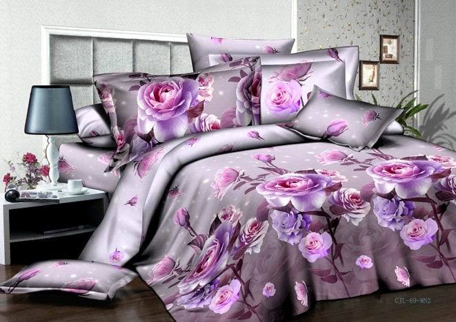 Purple Rose 3D Printing Bedding Set 4pcs Bedlinen
