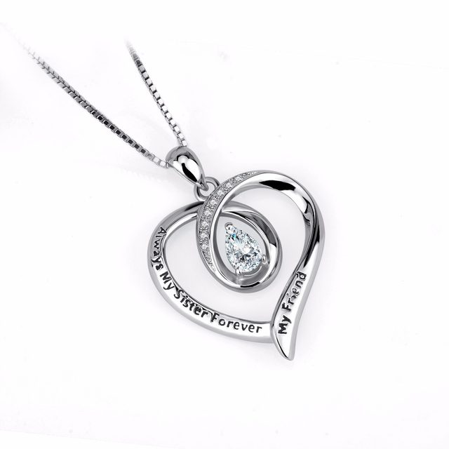 Online shop 925 sterling silver necklace crystal heart pendants image mozeypictures Image collections