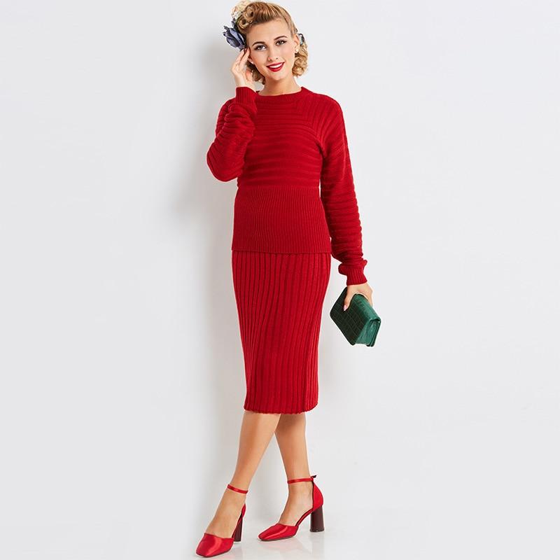 Sisjuly 2017 Autumn Women Retro Red Bodycon Sheath Sweater Dresses Knee Length Female Elegant Party Dress
