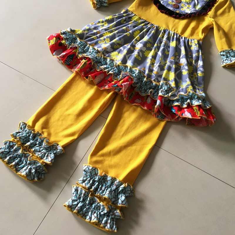 Solid Yellow top flowers bottom Half sleeves style 100%cotton Summer and Bib of Baby Girls Dress Apparel Accessory for present chimamanda ngozi adichie half of a yellow sun