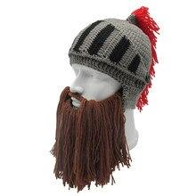 New Tassel Cosplay Roman Knight Knit Helmet Men's Cap Original Barbarian Handmade Winter Warm Beard Hats Funny Beanies Halloween цены
