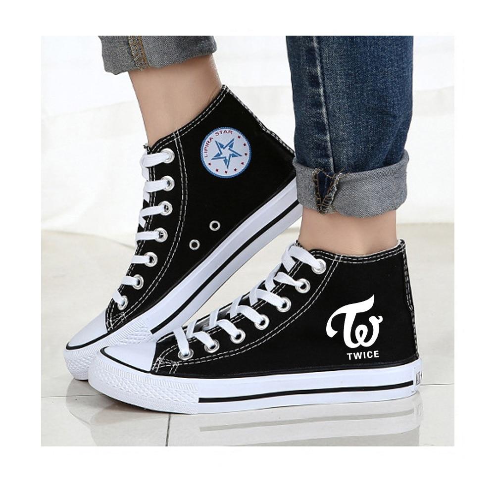 Qaedtls Kpop SuperM Shoes High Top Canvas Sneakers for Women Men