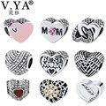 V YA Crystal Silver Beads fit for Pandora Bracelets Necklace Romantic Heart Shape Charm for Lovers Women Men DIY Jewelry
