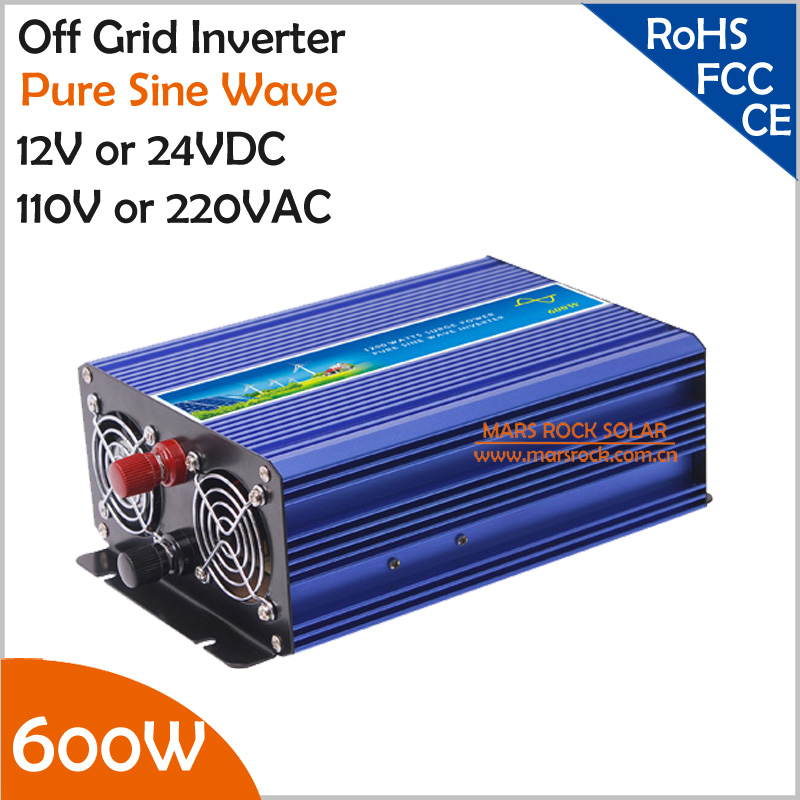 600W Off Grid Inverter, 12V/24V DC to AC 110V/220V Surge Power 1200W Pure Sine Wave Inverter for Solar or Wind Power System wind power generator 400w for land and marine 12v 24v wind turbine wind controller 600w off grid pure sine wave inverter