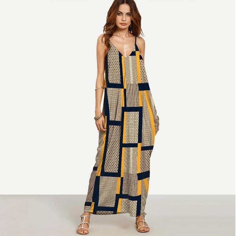 WIPU Elegant Long Maxi Dress Summer 2018 Women Boho Deep V Neck Sleeveless Loose Dresses Beach Wear Sundress Vestido