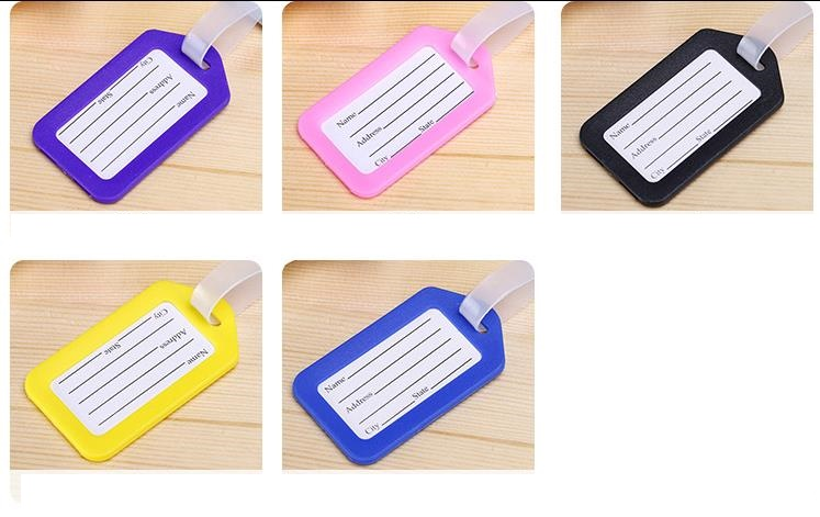 10Pcs/lot Random Color New Fashion Plastic Travel Luggage Tags Colorful Luggage Labels With Transparent Straps funny blades style small plastic spinning tops random color 4 pcs