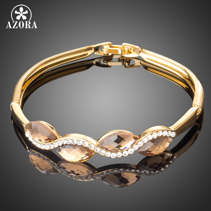 все цены на AZORA Gold Color 4pcs Marquise Champagne Australian Crystal Wave Fold Over Clasp Bracelet Bangles TB0088