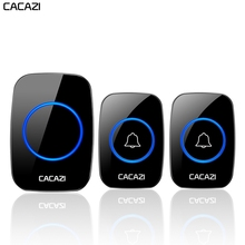 CACAZI Hause Drahtlose Türklingel wasserdicht Push Taste US EU UK Plug Receiver Smart Cordless Tür Ring Glocke 60 chimes 5 volumen