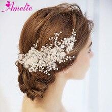 Кружевной Цветок Свадебный заколки Для женщин невесты головной убор элегантные волосы зажим Выпускной, свадьба аксессуары для украшений для волос