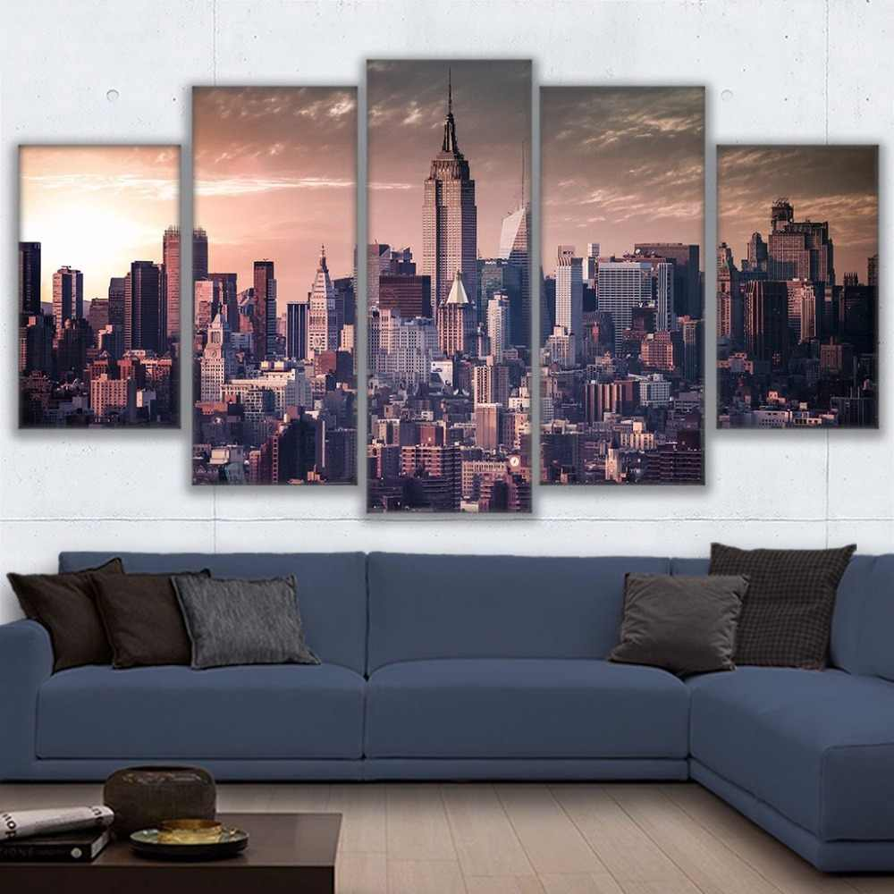 5 Panel Canvas Infinity Led Mirror Wall Art Home Decor Poster Print Vintage Sea Life Home Decor Posters Prints Home Garden