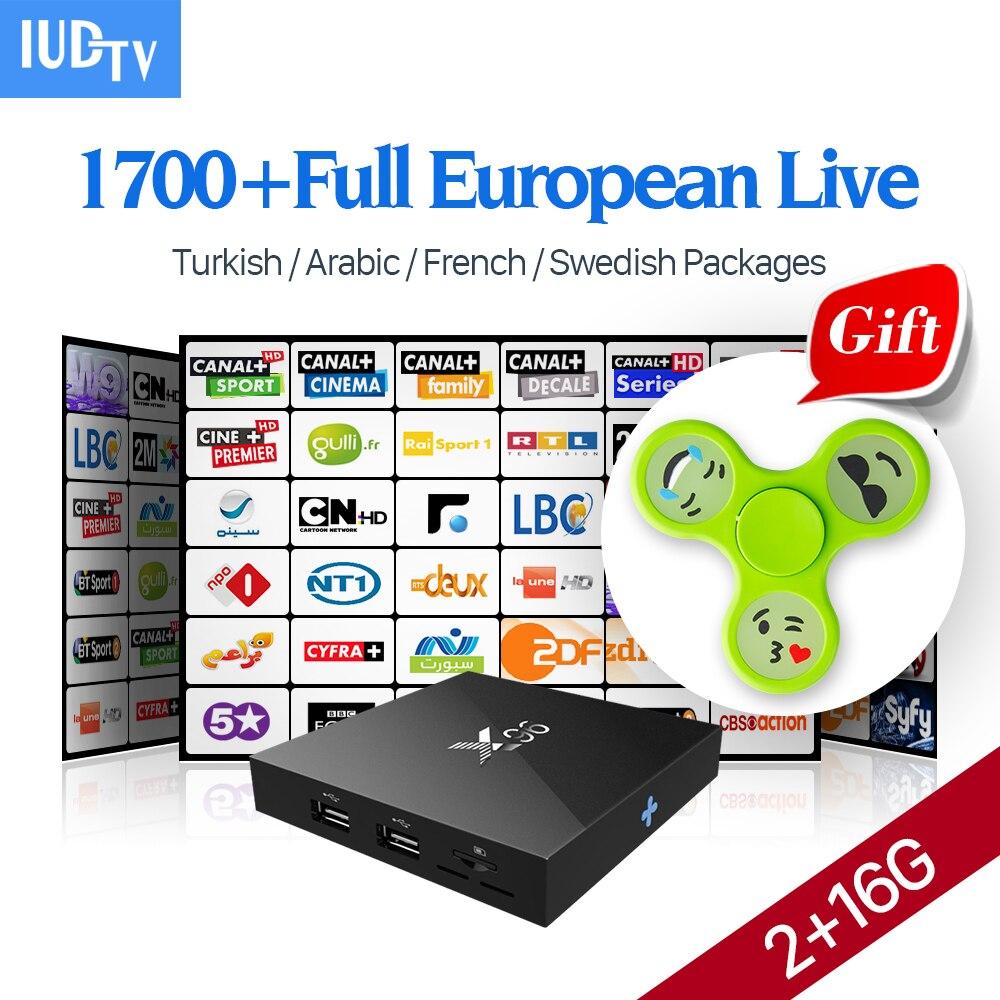 Europa Árabe IPTV Caja 2G 16G Amlogic X96 S905X Smart TV Suscripción IPTV caja A