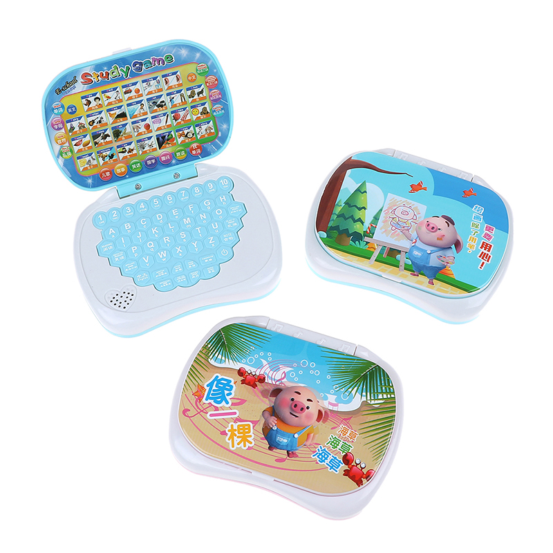 Bilingual Early Educational Learning Machine Kids Laptop Toys Computer Baby Tablet English Learning Education Toys Random