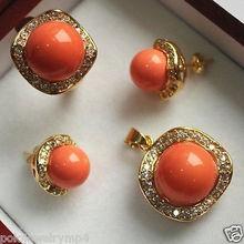 wholesale choker jewelry sets for women anime Wedding Orange shell pendants earrings rings set AAA Plated gold Bridal wide watch