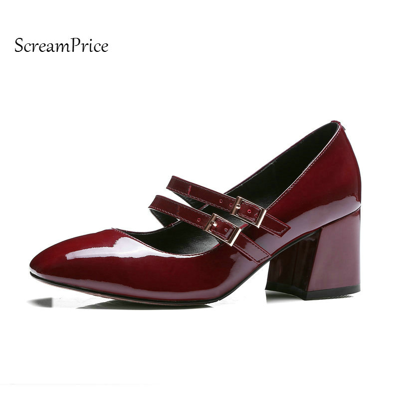 Genuine Leather Woman Mary Jane Shoes Comfort Thick Heel Buckle Dress Pumps Sqaure Toe Shallow Woman High Heel Shoes Black woman comfort sqaure heel fur genuine leather pumps fashion pointed toe dress lazy high heel shoes woman black wine red