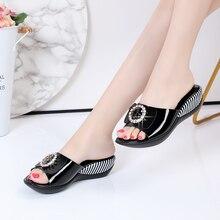 Sandales en cuir véritable, antidérapantes, nouvelle mode, sandales dété pour femmes, sandales à nœud papillon, strass