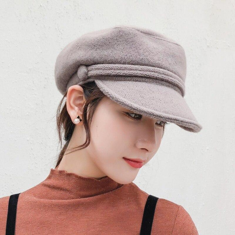 Seioum Mulheres Jornaleiro Cap Outono Inverno Preto roxo Chapéus de Feltro  Para As Mulheres Grosso Vintage 520334ce4db
