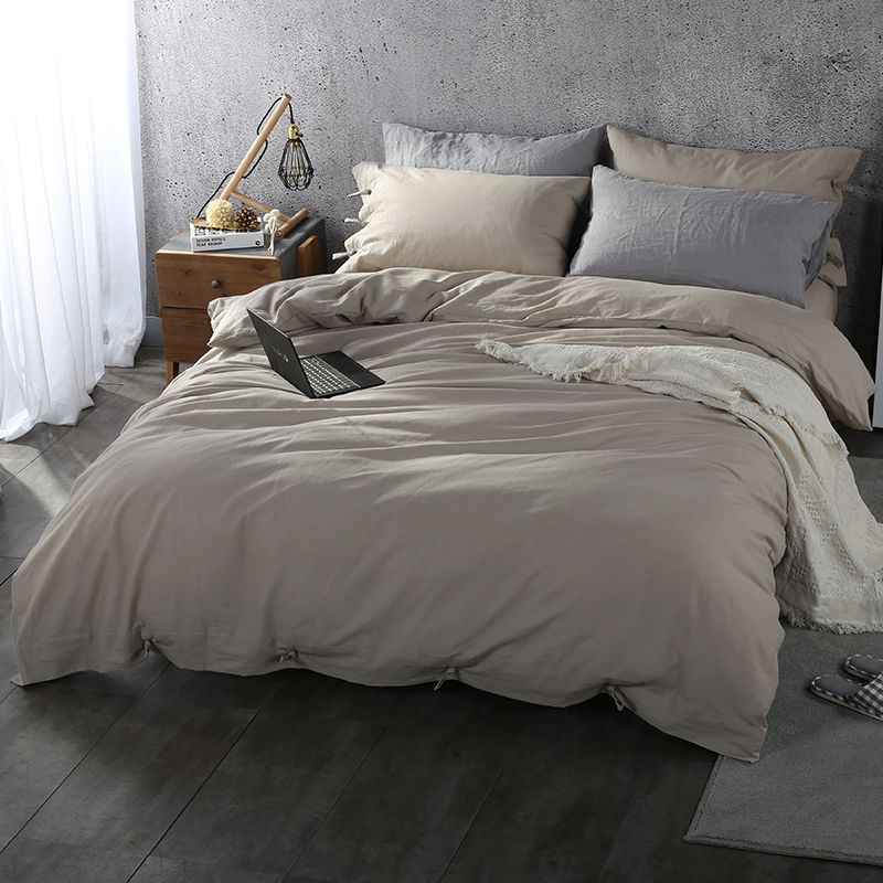 Simple Style Coffee Color Natural Flax Fitted Sheet Bedding Set Duvet Cover Bed Linen Bedsheet Pillowcases King Queen Size 4pcs
