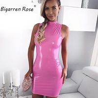 2017 New Fashion Sexy Pink PU Leather Dress Solid Women Brighter Dresses Sleeveless With Back Zipper