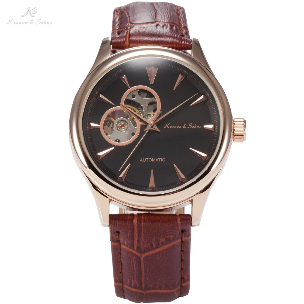 KS Brand New Leather Band Belt Relogio Black Gold Male Analog Self Wind Casual Clock Mens Automatic Mechanical Wristwatch /KS299 ks brand white gold auto date day 24 hour display black leather male clock wrist automatic self wind men mechanical watch ks246