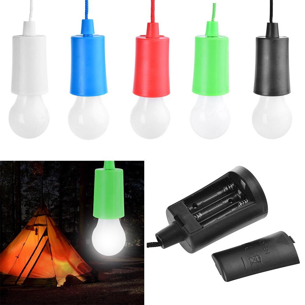 IVYSHION Portable Pull Cord Light Bulb Outdoor Hanging Night Lights PullCord Night Light LED Lamp Lanterns Outdoor Garden Decor