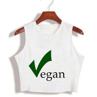 Harajuku Vegan Letter Print Sexy Womens Cropped Funny T Shirts Cotton Loose Sleeveless Shirts Girls Fitness