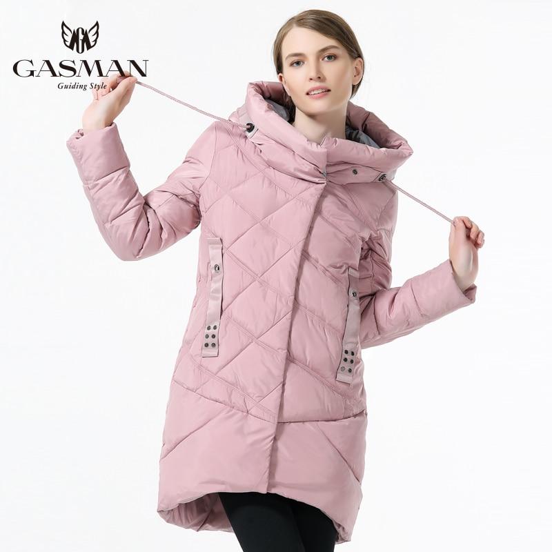 GASMAN Marque Hiver Veste Femmes 2018 Moyen Longueur Épais Vers Le Bas Parka Mode Pardessus À Capuche Pour Femmes Vêtements D'hiver Rose Couleur