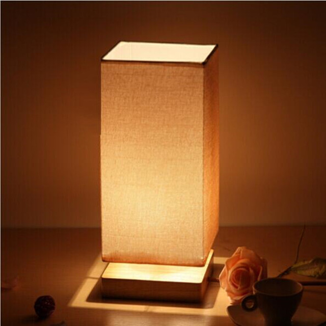 Perfect Modern Square Table Lamp Wood Light Led Light Wooden Lamp Shade Study Room  Bedroom Office Table