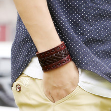 цена на Vintage Men Wide Leather Bracelet Bracelets Punk Braided Rope Male Alloy Cuff Bangle Wristband