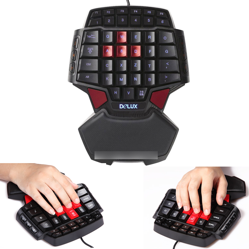 T9 One Hand wired Professional gaming keyboard double computer usb backlight single hand creative gift