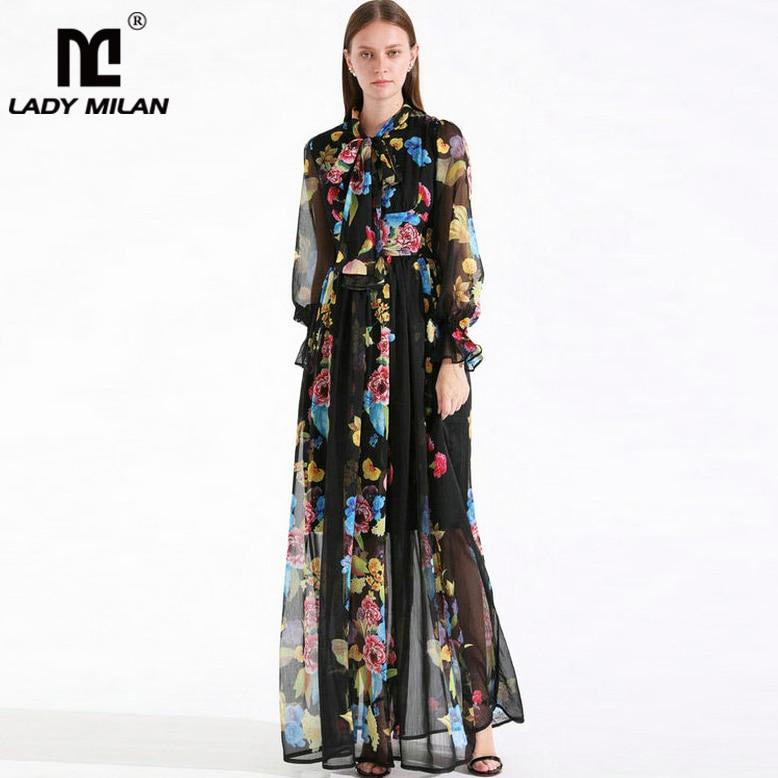 2019 Women s Runway Dresses Sash Bow Collar Long Sleeves Ruffles Floral Printed Elegant Maxi Casual