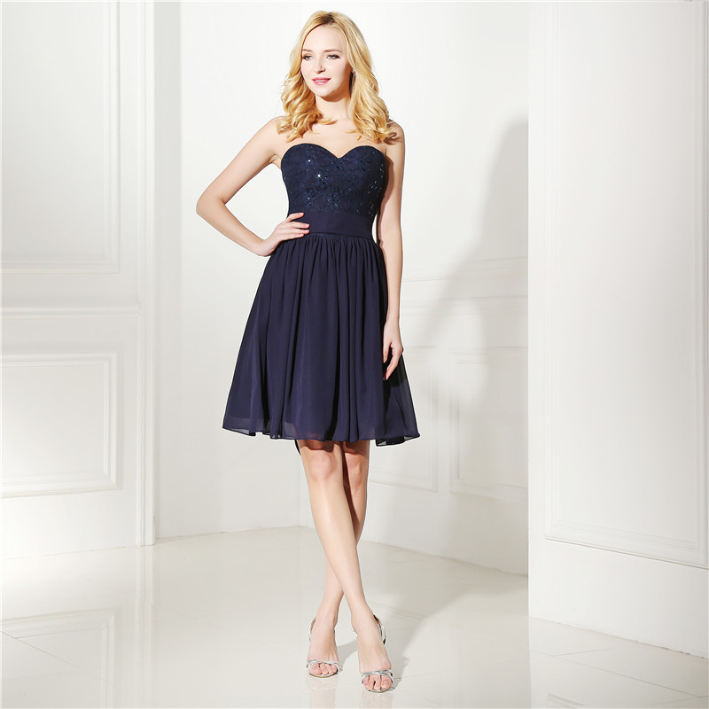 100% Real Photos Navy Blue Cocktail Dress Sexy Chiffon Knee Length Short Homecoming Party Gown Plus Size