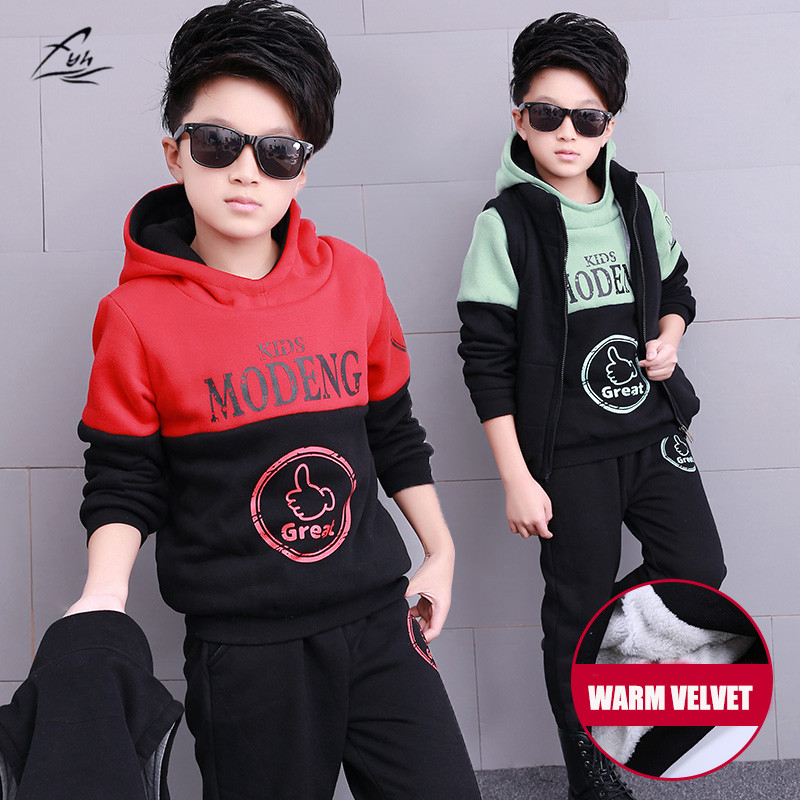FYH Kids Clothing Winter Boys Clothing Sets Warm Sports Tracksuits Three-piece Vest+Hooded Sweatshirt+Pants Children Costumes fyh kids clothes winter boys clothing set warm velvet suit two pieces hooded sweatshirt pants children costumes sports tracksuit