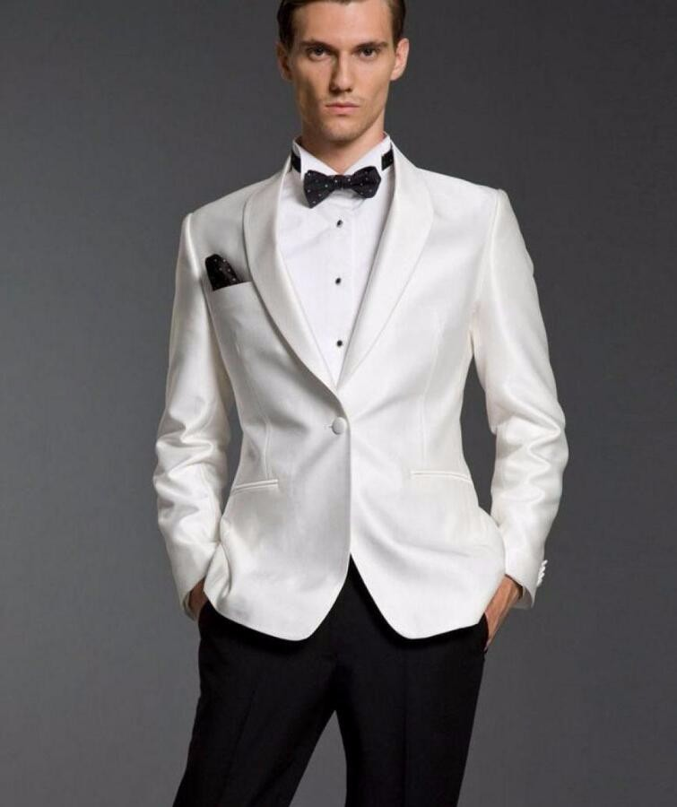 26.1 New Arrival New White Mens Suits For Wedding Shawl Lapel Grooms Tuxedos Two Piece Mens Suits Slim Fit Groomsmen Suit