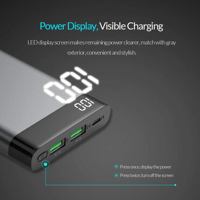 Grey 10000 mAh Dual USB Power Bank