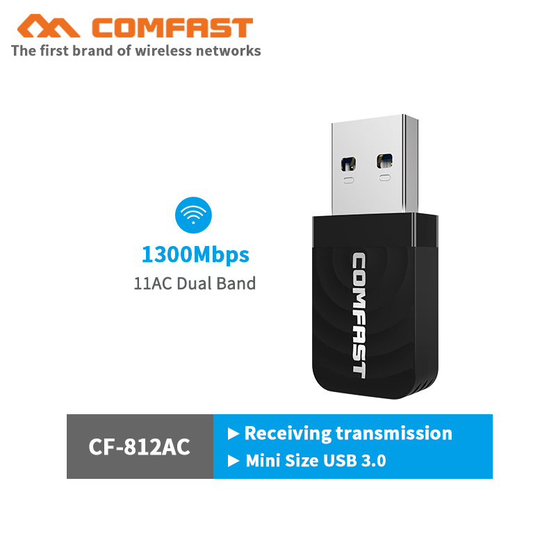 1300Mbps Mini USB Wifi Adapter CF-812AC Wifi Ethernet USB 3.0 Network Card 802.11ac 2.4G/5.8G Dual Band Wifi Receiver Antenna