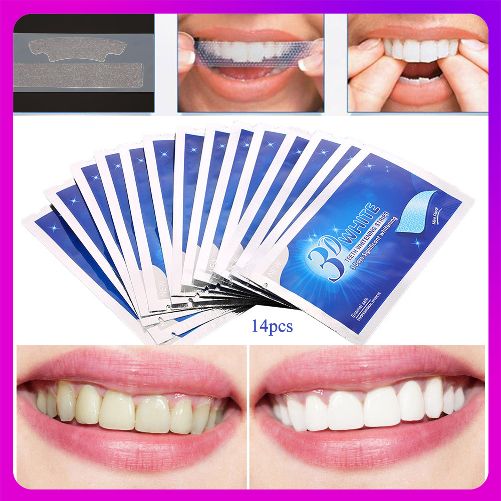 28Pcs/14Pair Teeth Whitening Strips 3D White Gel Tooth Dental kit Oral Hygiene Care Strip for false Teeth Veneers Dentist seks(China)