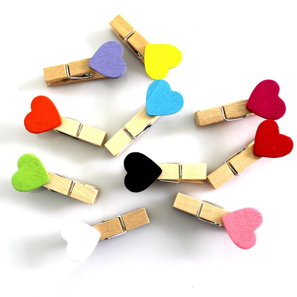 New 10pcs Lot Mini Romantic Loving Heart Shape Wood Clips