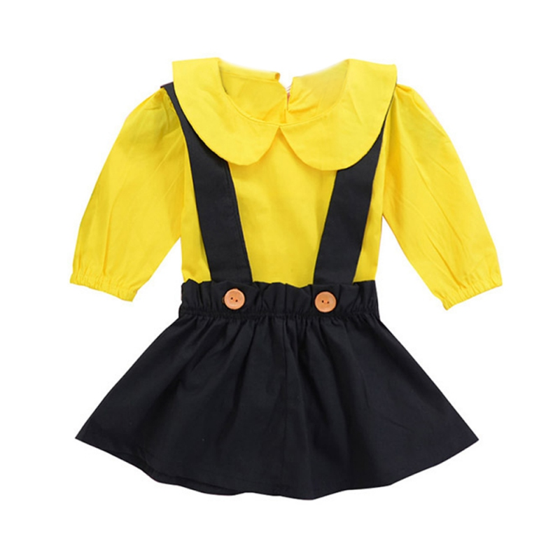 2Pcs Newborn Baby Girl Clothes Tops Bodysuit Playsuit Overalls Skirts Outfit Set Clothes Baby Girls Suspender Skirts Hot Sale