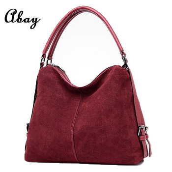 Women Real Suede Leather Hobo Bag New Design Female Leisure Large Shoulder Bags Shopping Casual Handbag Sac Purse