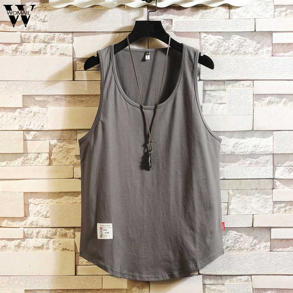 Womail Fashion Vest Tank Tops mannen Losse Solid Mouwloos Ronde Hals Vest Tank Tops Voor Mannen Dropship May30 Camiseta
